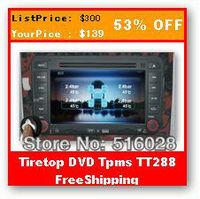 Free Shipping TPMS TireTop TT288 DVD TPMS With 4 Sensors For Car DVD Gps Car DVD Player Internal Tire Pressure Sensor TPMS DVD