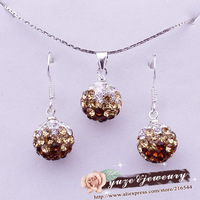 Hotselling Gradient Pink Round Drop Earrings Necklace Shamballa set 925 sterling silver JEWELLRY SET Disco ball set