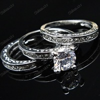3pcs 3 in 1  Austria Crystal Cubic zircon Rhinestones 18K White Gold GP Engagement Wedding Rings Wholesale Jewelry Lots