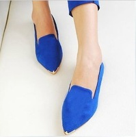 2013 candy color velvet pointed toe flat heel single shoes fashion suit shoes flat women's ol shoes