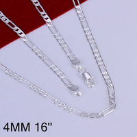 N102-16 Promotion! free shipping wholesale 925 silver necklace, 925 silver fashion jewelry 4mm Necklace-16 inches N1