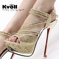 new 2014 hot sale fashion women pumps female sexy rhinestone sandals platform sandals thin heels high-heeled sandals for women