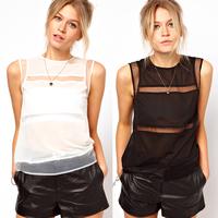 new fashion summer women sheer tops solid color chiffon glass yarn patchwork female t shirs blusas chifon femininas camisas
