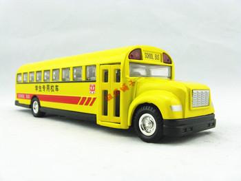 School bus toy large classic alloy car model acoustooptical WARRIOR belt baby