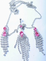 New Hot Free shipping + Lowest price New sexy Peacock tassel Rhinestone Belly Chain and Lower Back 10pcs/lot
