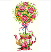 Free Shipping Cross Stitch Kits Red Rose Flower Teapot High Quality