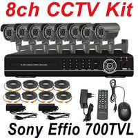 8ch cctv kit whole secuirty system install Sony 700TVL surveillance monitor hd camera 8ch D1 DVR network digital video recorder