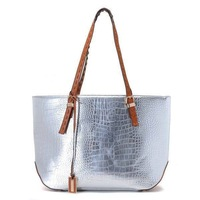Free Shipping Gia Metallic Crocodile-Embossed Leather Tote Silver