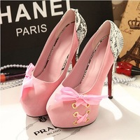 Mushroom 2013 spring and autumn single shoes female sweet bow platform women's ultra high heels shoes