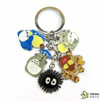 Totoro multicolour 5 doll keychain hanging buckle