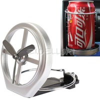 Universal Car Air-Outlet Folding Cup Bottle Drink Holder with Fan Silver E1Xc