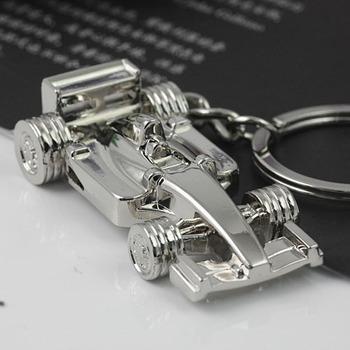 M82501 Creative Polished Chrome Racing Car Model Keychain Keyring Key Chain Ring Keyfob Key Holder