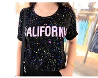 Women fashion summer Korean style splash-ink letter print turn-over short sleeve T-shirt F free shipping A-316-5673