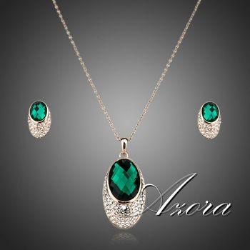 Азора благородство зеленый кристалл 18 К позолоченные Stellux австрийский кристалл серьги и ожерелье комплект TG0060