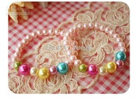 Fashion Sweet Girls Pink Pearl Jewelry Children Kids Faux Pearl Candies Princess Jewellery Bracelet 186