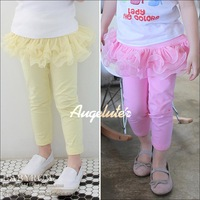 2013 children all-match lace basic faux two piece set dress trousers legging