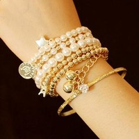 2013 Vintage eiffel tower pearl coin personalized combination bracelet