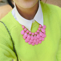 2013 Neon candy color short multi-layer big drop design necklace female accessories and  fashion earrings set