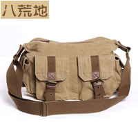 Virginland brand 2 exterior pockets 6 colors cool vintage military canvas&leather bags for men women messenger bag  VGL2353