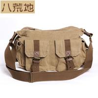 Virginland brand 2 exterior pockets 6 colors cool vintage military canvas&leather bags for men women messenger bag  VGL2353