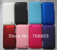 50pcs Free Shipping rubber plastic hard phone case for iPhone 3G 3GS 3TH +50pcs screen films