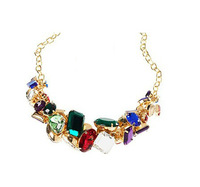 2013 New Blingbling Gold Acrylic Colored Created Gemstones Short Women Choker Necklace Free Shipping
