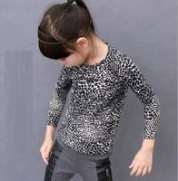 Free Shipping Hot 5pcs/lot Kids girls leopard Fashion T shirts kids girls fashion clothes Tee spring Autumn long sleeve clothing
