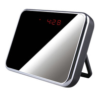 Free Shipping Mirror Digital Clock Hidden Camera With Motion Detection HD 1280x960 Mini DV DVR Clock  with Retail Package