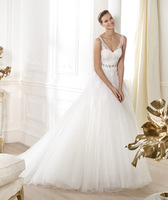 2014 New Trend Famous Brand Bridal Gown A-Line Floor-Length V-Neck Sexy crystal wedding dresses