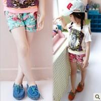 Female child big flower roll-up hem trousers shorts female child summer shorts