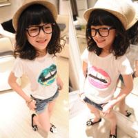 Female child paillette t-shirt lipstick female child short-sleeve t-shirt female child top