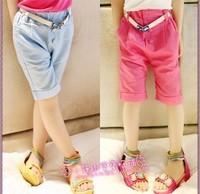 Female child candy color capris crystal belt breathable fluid capris female child single-shorts capris
