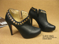 Fashion opening rivets zipper ankle boots high-heeled shoes
