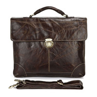 Excellent Male Classic Vintage Leather Men's Chocolate Briefcase Laptop Bag Shoulder Bag Men  # 7091Q