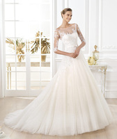 2014 New Trend Famous Brand Sweetheart Half Sleeve Chapel Train Elegant Bridal Dress Wedding Dress Plus Size