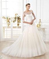 2014 New Trend Famous Brand Sweetheart Half Sleeve Chapel Train Elegant Bridal Dress Wedding Dress Plus Size