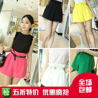 Free shipping 2013 summer women's summer women's white high waist plus size basic casual pants