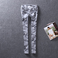 Free shipping Trousers grey ink print skinny pants trousers female