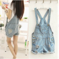 2014 New Fashion women denim shorts with suspenders, hot pants loose big pockets sweet jeans overalls jumpsuits