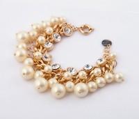Fashion  accessories elegant pearl inlaying gem multi-layer bracelet female