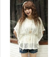 Women's summer 2013 loose cutout lace shirt top batwing sleeve o-neck short-sleeve batwing shirt female