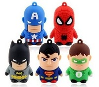 Free shipping Cheap Real 1GB - 32GB Cartoon  Superheros  man USB Flash Memory Stick