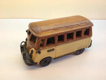 Wood handmade wooden finished products vintage school bus model crafts gift