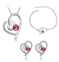 Kids Gift!! Popular Crystal Twinset Crystal Heart Necklace Stud Earring Bracelet Fashion Women Childrens Jewellery Set J26