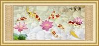 FREE SHIPPING Diy rhinestone diamond painting home decoration gift round diamond painting fish Nine fish figure(jiutiaoyu)