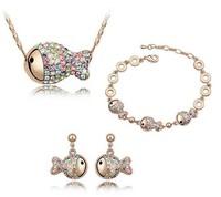 New Rich Fish Rhinestone Crystal Girls Jewellery Sets Wholesale Kids Fashion Jewelry (Bracelet + Necklace + Earrings) J35