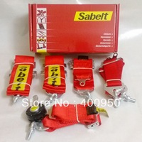 "3"" Sabelt 6 Points Racing Harness Quick Release FIA Approved Sabelt Racing Seat Belts 3 Inches Car Safety Belts Red"
