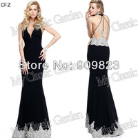 2014 Elegant V Neck Open Back Beaded Hem Satin Black  Elegant Evening Gowns Dresses New 92269