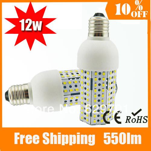 5pcs E27 12w Energy Star Free Shipping Guaranteed 100% 2835 SMD Chip Aliminum Heat Sink Mushroom Shape Led Corn Light(China (Mainland))