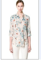 2013 Women New Free Shipping European Style Birds Flower Tree Lapel Blouse Size S/M/L CS13070206